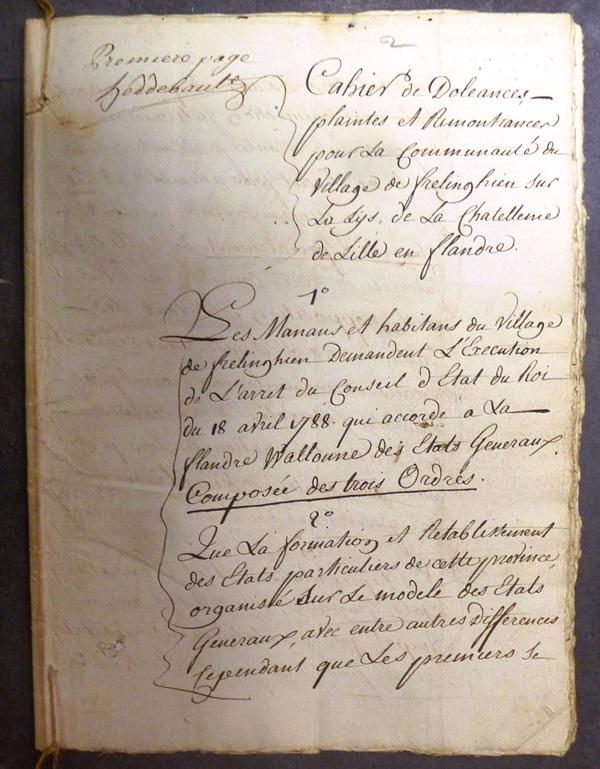 cahier de doléances de Frelinghien dans le pays de Weppes en 1789